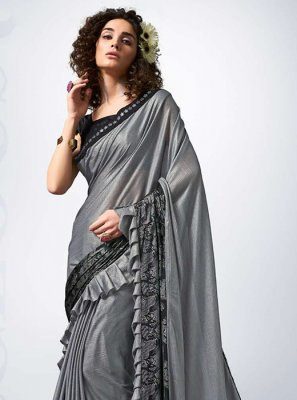 Grey Lycra Party Designer Saree