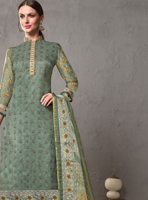 Grey Mehndi Cotton Silk Salwar Suit
