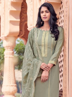 Grey Muslin Bollywood Salwar Kameez