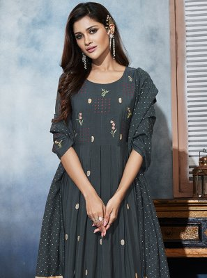 Grey Muslin Embroidered Anarkali Salwar Suit