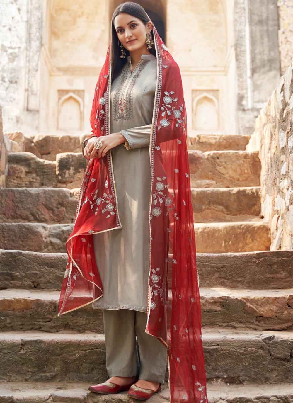 Grey Muslin Embroidered Salwar Suit