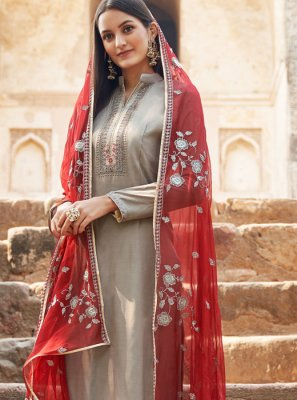 Grey Muslin Embroidered Salwar Suit