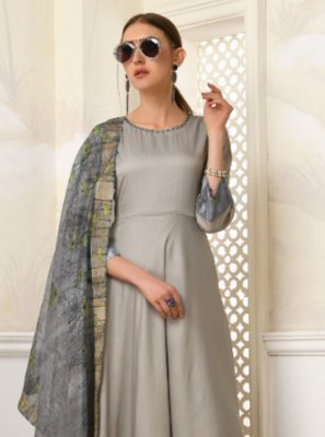 Grey Muslin Festival Readymade Gown