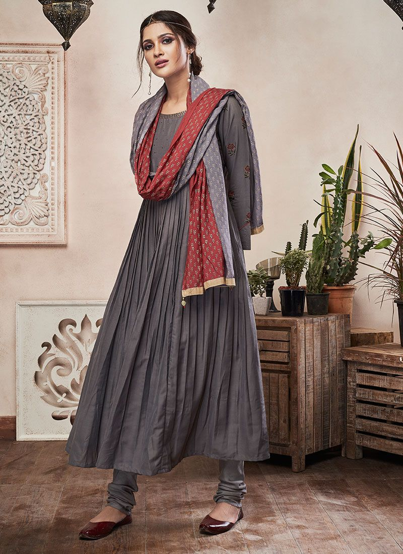 Grey Muslin Trendy Churidar Salwar Suit