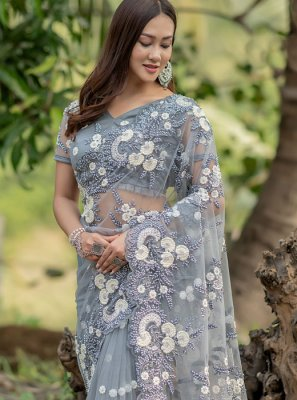 Grey Net Bridal Trendy Saree