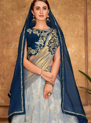 Grey Net Embroidered A Line Lehenga Choli