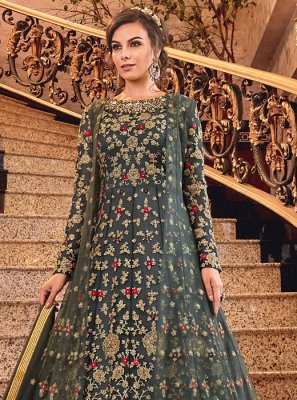 Grey Net Embroidered Designer Salwar Kameez