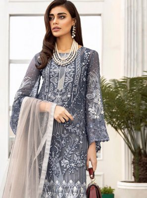 Grey Net Party Designer Salwar Suit