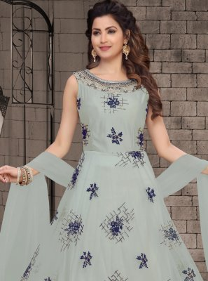 Grey Net Party Salwar Kameez
