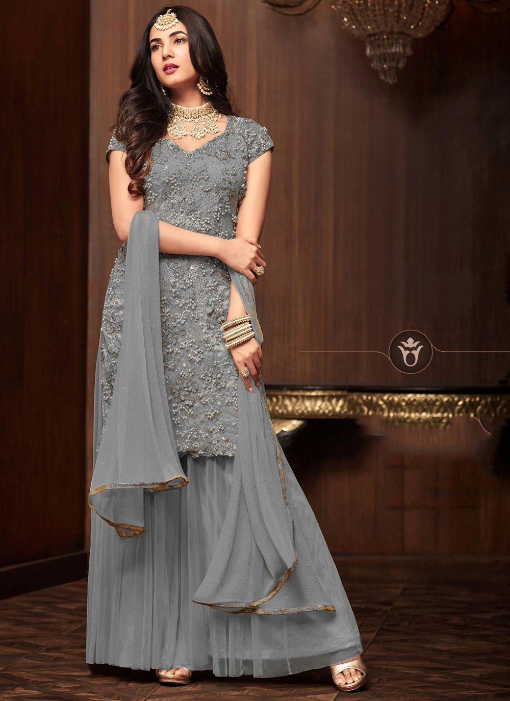 Grey Net Salwar Suit