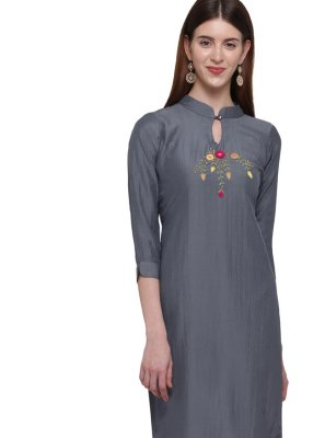 Grey Party Casual Kurti