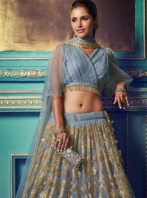 Grey Party Net Trendy Lehenga Choli