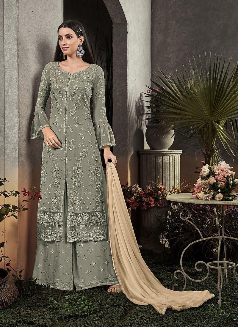 Grey Party Trendy Palazzo Salwar Suit