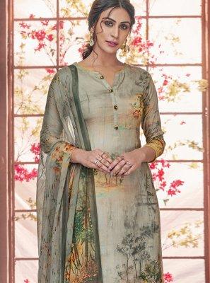 Grey Pashmina Salwar Suit