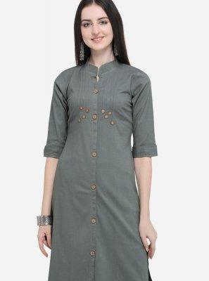 Grey Plain Cotton Party Wear Kurti