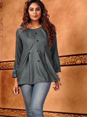 Grey Plain Cotton Silk Casual Kurti