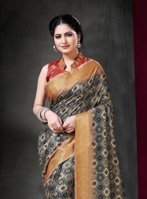 Grey Print Traditional Saree