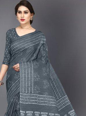 Grey Printed Casual Printed Saree