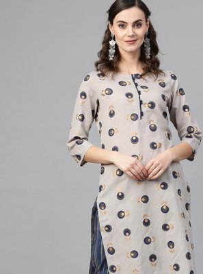 Grey Printed Cotton Casual Kurti