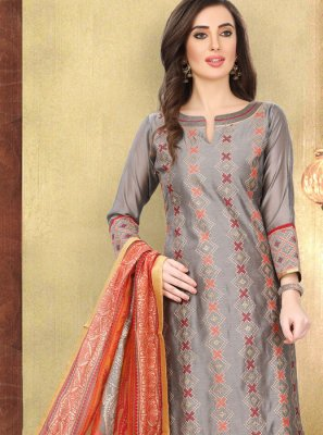 Grey Printed Cotton Churidar Designer Suit