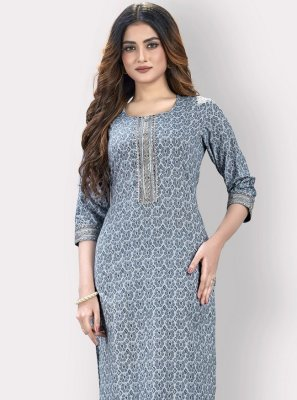 Grey Printed Cotton Designer Kurti