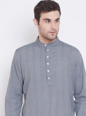Grey Printed Cotton Kurta