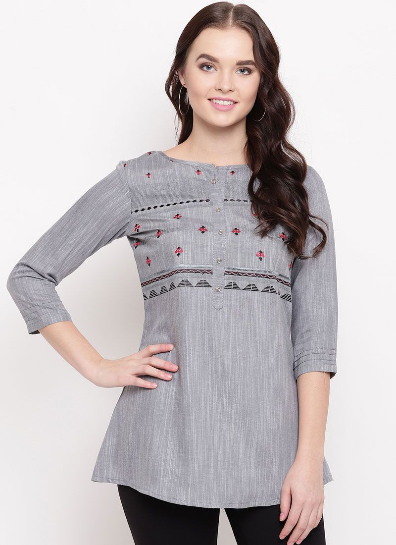 Grey Printed Cotton Party Wear Kurti