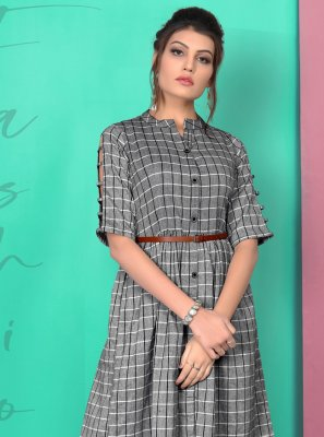 Grey Printed Cotton Party Wear Kurti