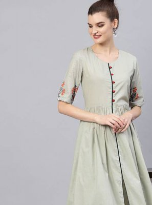 Grey Printed Cotton Salwar Kameez