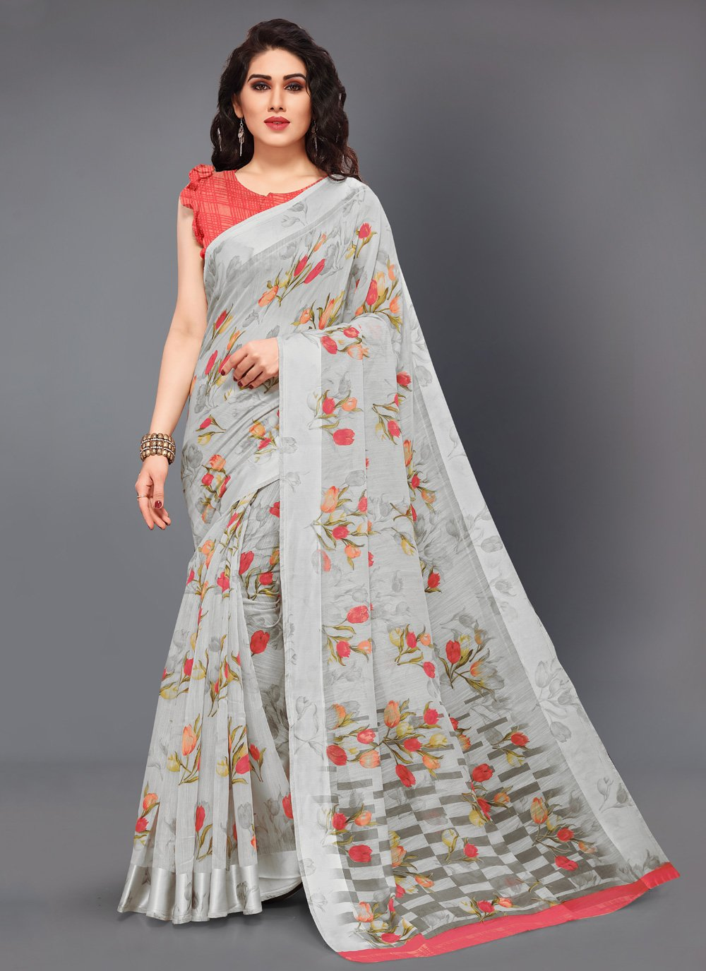 Grey Printed Cotton Traditional Saree