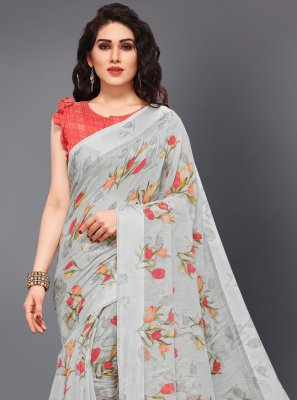 Grey Printed Cotton Traditional Saree