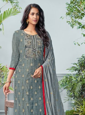 Grey Printed Mehndi Salwar Suit