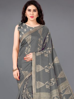 Grey Printed Party Casual Saree