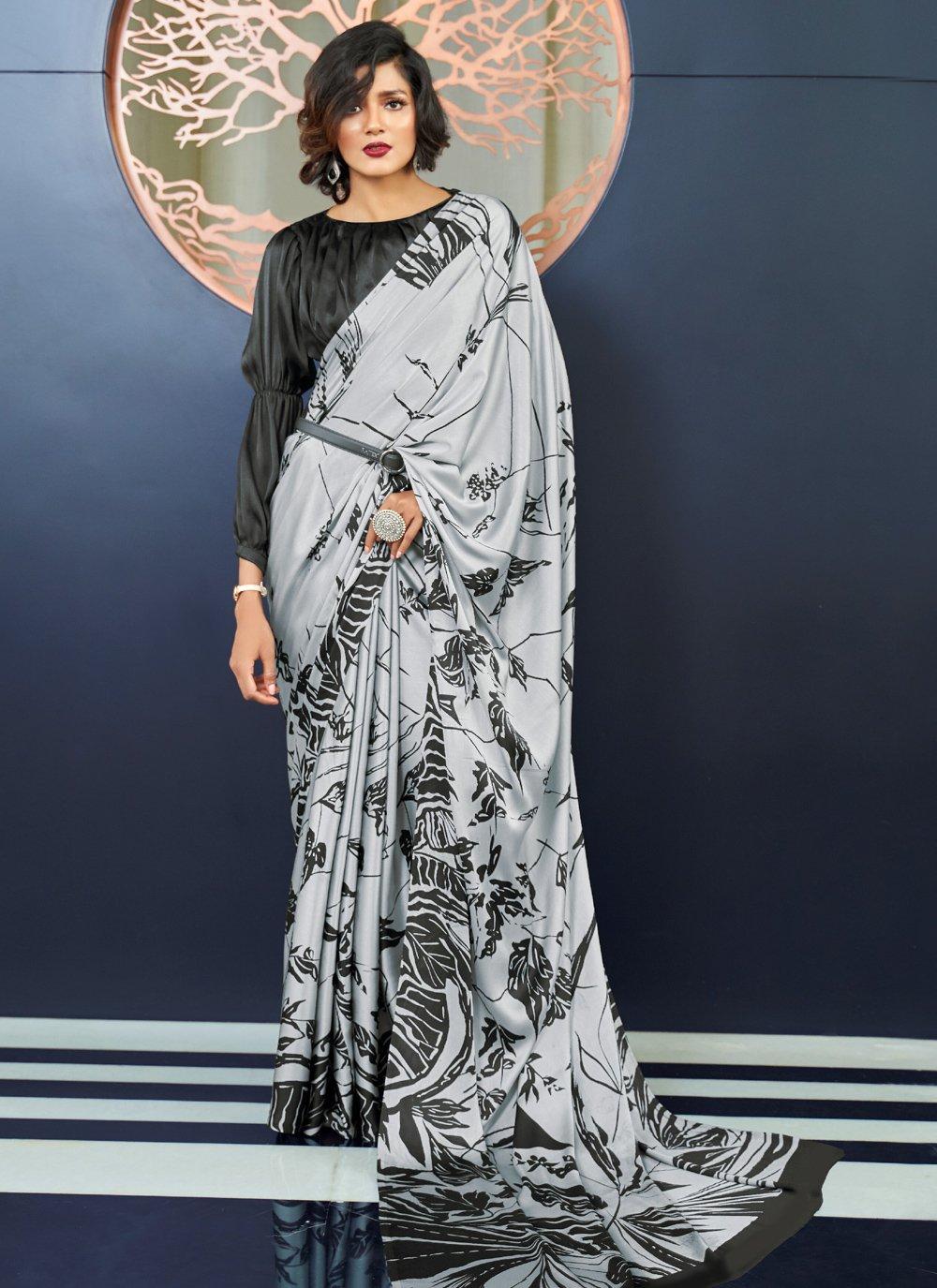 Grey Printed Party Classic Saree