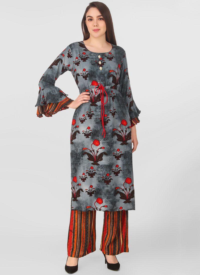 Grey Printed Salwar Suit