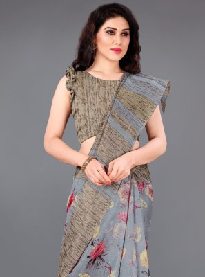 Grey Printed Silk Casual Saree