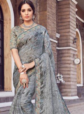 Grey Printed Silk Classic Saree
