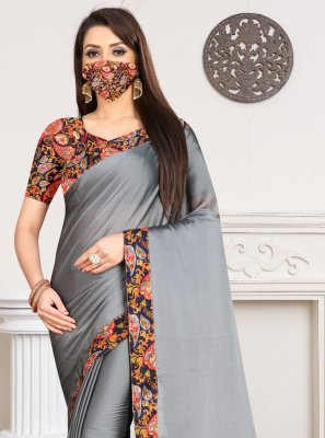 Grey Rangoli Contemporary Saree