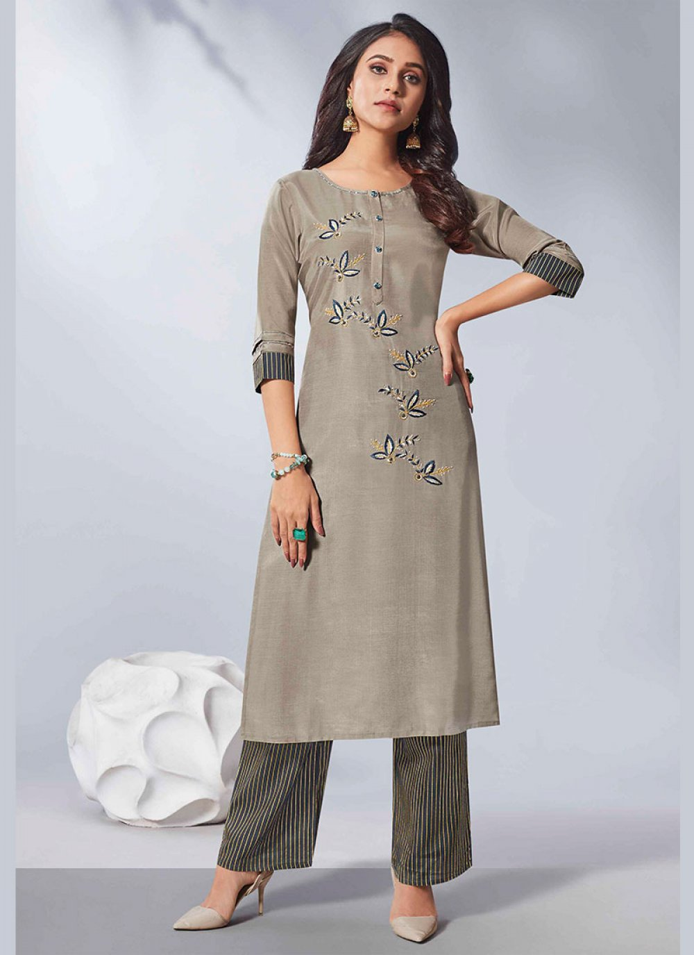 Grey Rayon Embroidered Party Wear Kurti