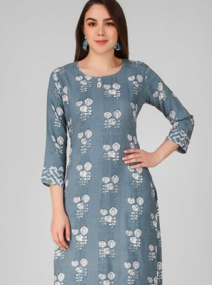 Grey Rayon Printed Salwar Suit