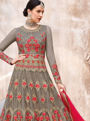 Grey Reception Anarkali Salwar Kameez