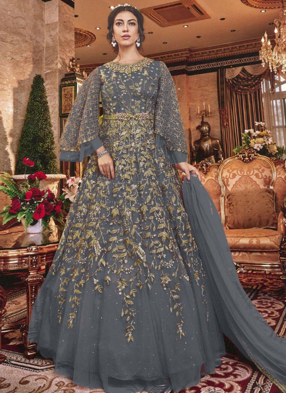 Grey Reception Designer Salwar Suit
