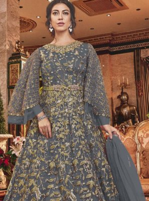 Grey Reception Designer Salwar Suit