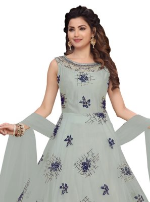 Grey Reception Georgette Ankle Length Salwar Suit