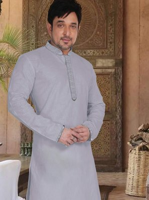Grey Reception Kurta Pyjama