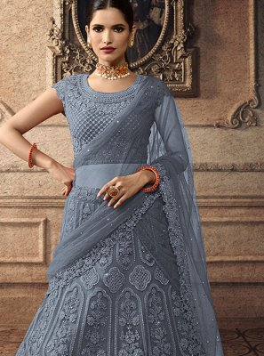 Grey Reception Net Trendy A Line Lehenga Choli