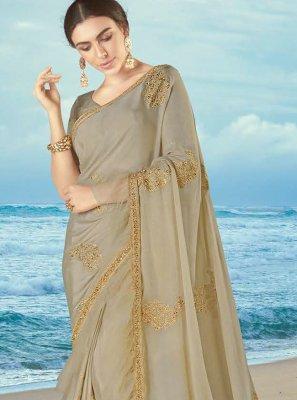 Grey Resham Bollywood Saree