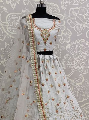 Grey Resham Party A Line Lehenga Choli