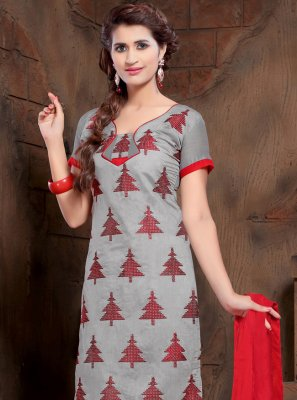 Grey Resham Silk Churidar Designer Suit