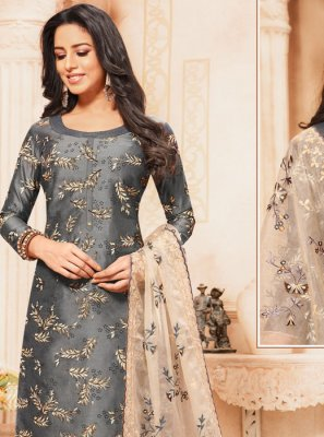 Grey Resham Silk Designer Suit